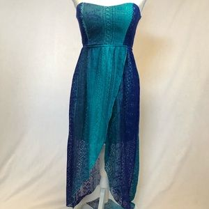 NWT strapless hi low dress medium blue bohemian